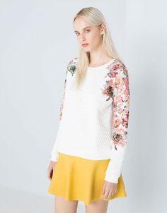 Bershka Deutschland - Sweatshirt Bershka Aufdruck Blumen