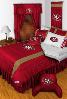 "Sidelines SAN FRANCISCO 49ers Queen Bedskirt . $31.99. Made of 100% authentic Jersey mesh, just like the players wear! Platform made of 70/30 poly/cotton blend. Fits queen size beds with a 14"" drop."