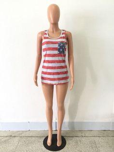 American Flag Striped Tank Top Cute Stars Bow Back Sleeveless Shirt Long Tank Tops Loose Casual Summe Women Tops