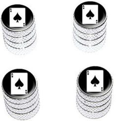 """Amazon.com : (4 Count) Cool and Custom """"Diamond Etching Ace of Spades Top with Easy Grip Texture"""" Tire Wheel Rim Air Valve Stem Dust Cap Seal Made of Genuine Anodized Aluminum Metal {Splashed Ford Silver and Black Colors - Hard Metal Internal Threads for Easy Application - Rust Proof - Fits For Most Cars, Trucks, SUV, RV, ATV, UTV, Motorcycle, Bicycles} : Sports & Outdoors"""