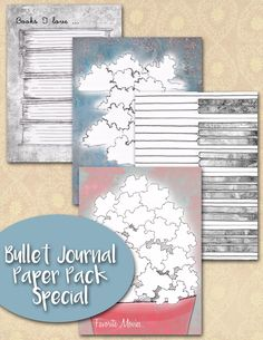 Bullet journal Lists, Bujo Inserts, Set of Four, Bullet Journal Insert, Bullet Journal inserts, Bujo List, journaling insert, Journaling by JournalPlannerDiva on Etsy