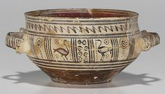 A GREEK POTTERY SKYPHOS   LATE GEOMETRIC PERIOD, CIRCA 760-735 B.C.   The handle zone with two water birds flanked by vertical lines and dotted rosettes, centered by false spirals on one side and a crosshatched column on the other, zigzag on the neck, horizontal bands below, the twin ribbon handles with vertical lines  6 in. (15.2 cm.) diameter excluding handles