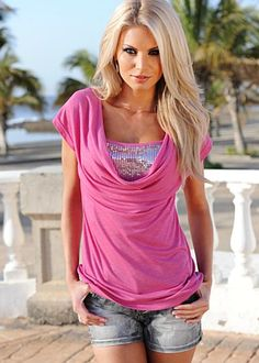 Pink (PK) Cowl Neck Top With Sequins  $32
