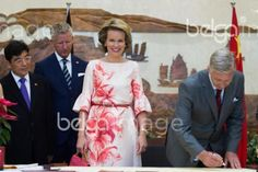 Federal State Secretary Pieter De Crem, Queen Mathilde of Belgium and King Philippe - Filip of Belgium pictured during a visit at Wuhan Urban Planning Exhibition Hall on the second day of a royal visit to China, Sunday 21 June 2015