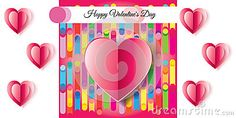Happy Valentines Day greeting card abstract background with heart. Elegant romantic poster. Love card. Vector illustration.