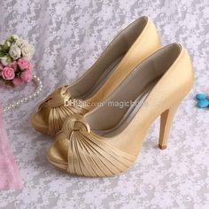 Best Custom Handmade Satin Gold Wedding Bridal Shoes Peep Toes Plus Size 10 Online with $29.03/Pair | DHgate