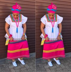 Winnie Mashaba takes today's outfit of the day crown in this colourful traditional sePedi outfit. Setswana Traditional Dresses, Venda Traditional Attire, South African Traditional Dresses, African Print Dresses, African Print Fashion, African Fashion Dresses, African Dress, African Prints, African Wear
