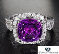 1,029.00$ Buy now - http://viima.justgood.pw/vig/item.php?t=0d129s183 - 14k Cushion Cut Amethyst Diamond Halo Horse Bit Style Diamond Pave Engagement... 1,029.00$