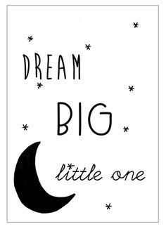 Kaart Dream big little one Leuke zwart-wit ansichtkaart met tekst Dream big little one.