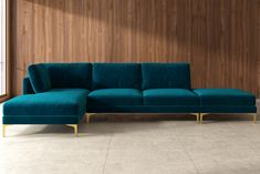 •Modular seats with clip connectors •Comfortable medium soft seat and         relaxed seating angle •Multiple seat and leg colors to choose from         •Removable seat and cushion covers •Timeless modern design with sleek         metal legs Classic Living Room, Home Living Room, Green Sofa Inspiration, Teal Velvet Sofa, Gold Sofa, Dining Room Furniture, Furniture Ideas, Sectional Sofa, Couches