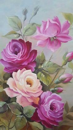 Fabric Painting Tutorial: In this particular tutorial we'll teach you utilizing Country Chic Paint t Beautiful Flower Drawings, Beautiful Rose Flowers, Beautiful Flowers Wallpapers, Rose Oil Painting, Fabric Painting, Watercolor Flowers, Watercolor Art, Floral Artwork, Flower Wallpaper