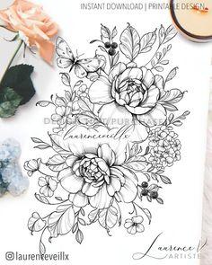 Inner Thigh Tattoos, Floral Thigh Tattoos, Flower Tattoos, Hydrangea Tattoo, Peonies Tattoo, Butterfly With Flowers Tattoo, Butterfly Tattoo Designs, Cute Tattoos, Body Art Tattoos