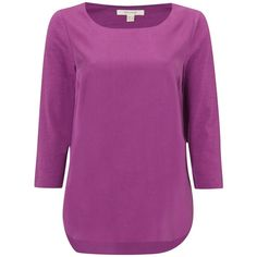 White Stuff Foliage Long Sleeve T-Shirt , Prague Purple ($50) ❤ liked on Polyvore featuring tops, t-shirts, prague purple, three quarter sleeve t shirts, white tee, curved hem t shirt, curved hem tee and long sleeve tops