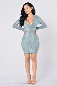Dressed To Kill Dress - Blue Grey