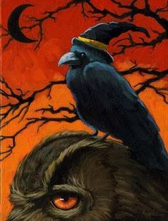 The Owl and Crow - painting by artist Linda Apple-  All Hallows Eve