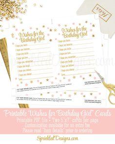 Birthday Wishes for Birthday Girl Cards Blush by SprinkledDesign