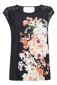 ROMWE Lace Panel Floral Print Blouse