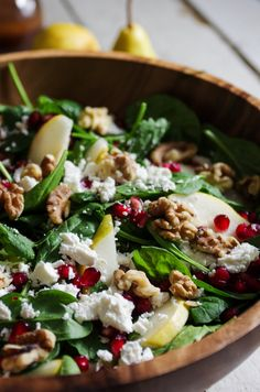 Spinach, Pear and Feta Salad with Walnuts and Pomegranate Arils.  A quick and healthy holiday salad perfect for a large group or simple weeknight dinner. coffeeandcrayons.net