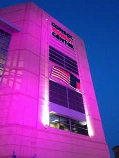 Consol Energy Center dressed in lavender for the Pittsburgh Penguins #HockeyFightsCancer night. Photo by: @emptynetters