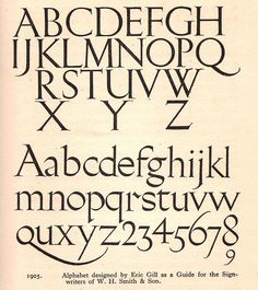 Eric Gill - typeface or alphabet designed for W H Smith & Sons shops, c1925