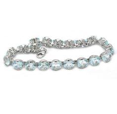 """De Buman Sterling Silver Genuine Sky Blue Topaz Bracelet 7.25"""" De Buman. $110.99. Crafted of sterling silver Blue Topaz, Jewelry Bracelets, Sky, Sterling Silver, Diamond, Link, Heaven, Heavens, Diamonds"""