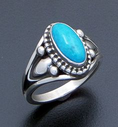 Derrick Gordon (Navajo) - Oval Turquoise & Oxidized Sterling Silver Ring #40166 $120.00
