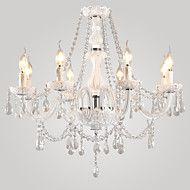 Lustre de Tecto em Cristal Branco com 8 Luzes em Vela