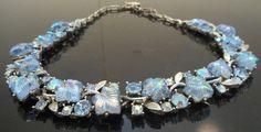 Vintage Blue Carved Art Glass Rhinestone by nanascottagehouse