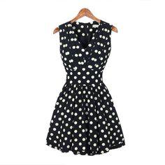 Polka Dot V-Neck Sweetheart Sleeveless Strap Chiffon Women's Mini Cocktail Dress -- 3181