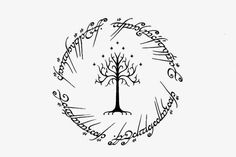Visual Design:  Lord Of The Rings tattoo design. White tree of Go...