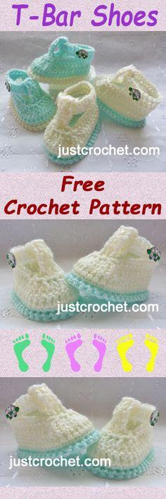Free baby crochet pattern for T-Bar shoes. #crochet