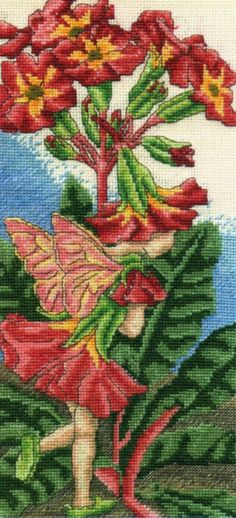 Cross stitch - fairies: Polyanthus fairy - Cicely Mary Barker - close-up segment (free pattern with chart)