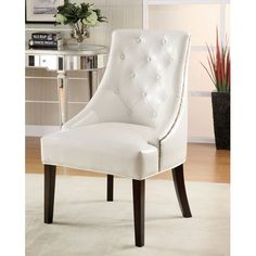 Coaster Accent Seating Upholstered Accent Chair with Tufted Button Accents - Coaster Fine Furniture Armless Accent Chair, White Accent Chair, Upholstered Accent Chairs, Tufted Chair, Bedroom Chair, Master Bedroom, Bed Room, Master Suite, Bedroom Decor