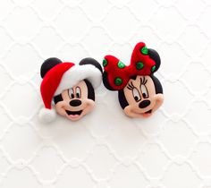 Mickey and Minnie ~ Christmas Earrings ~ Disney Jewelry ~ Winter Earrings ~ Mickey Studs ~ Mix Match Very Merry Christmas Party, Disney Christmas, Christmas Outfits, Tiny Stud Earrings, Button Earrings, Christmas Earrings, Disney Jewelry, Handmade Christmas, Christmas Clay