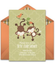 This monkey-inspired free baby shower invitation design is a perennial favorite on Punchbowl, brought to you by our friends at Boppy®. We love it as an invitation for a monkey or jungle themed baby shower. Baby Shower Themes, Baby Shower Gifts, Shower Ideas, Free Monkey, Online Invitations, Invites, Free Baby Shower Invitations, Baby On The Way, Baby Online