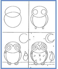 KidsArt Fine Art Classes: Contact how to draw a owl come disegnare un gufo Drawing Lessons, Art Lessons, Drawing For Kids, Art For Kids, Doodle Art, Owl Doodle, Autumn Art, Owl Art, Art Classroom