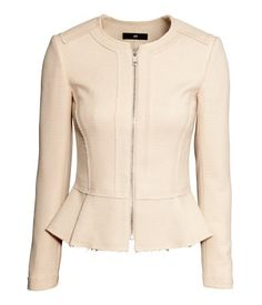 Product Detail | H&M US - cream peplum zippered jacket with exposed seams - front view