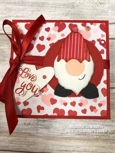 Join me as I make a cute and easy Stampin' Up! box with gnome punch art on the lid, as well as a candy treat holder and card for Valentine's Day. Valentine Love Cards, Valentine Crafts, Valentine Ideas, Valentines, Cricut Cards, Stampin Up Cards, Sand Crafts, Paper Crafts, Punch Art Cards