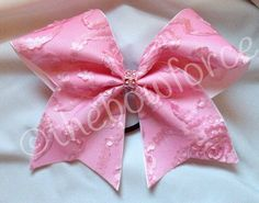 Classy Pink Textured Lace Cheer Bow on Etsy, $11.00