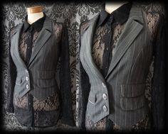 Gothic Grey Pinstripe Tailored BAROQUE Corset Waistcoat 8 10 Victorian Steampunk - £24.00