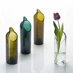 Vases made from recycled bottles.