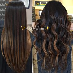 ✨❤️Golden Goddess brunette toned ✨Painted Hair✨❤️ Straight and wav… Balayage – hair ideas Brown Hair Balayage, Balayage Brunette, Balayage Color, Balayage Straight Hair, Highlights For Straight Hair, Dark Brown Hair With Highlights Balayage, Straight Brunette Hair, Carmel Balayage, Carmel Highlights
