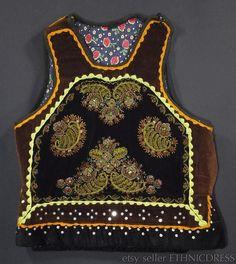 BEAUTIFUL beaded folk costume vest from Romania - handmade brown velvet waistcoat | European ethnic peasant fashion | remarkable handicraft