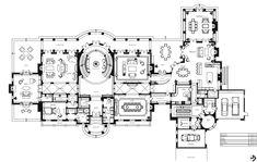 "27,000 square foot mansion ""Le Grand Reve"". Main level floor plan.  Address: 68 Locust Rd. Winnetka IL"