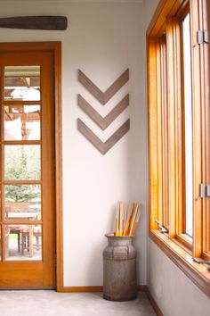 Set of three Wood Arrow Wall Art, Chevron Home Decor, wall hanging, wall arrow, reclaimed wood, statement piece, modern, industrial, rustic, on Etsy, $35.00
