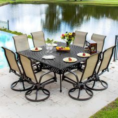 Madison Bay 9 Piece Sling Patio Dining Set With Swivel Rockers And Square Table By Lakeview Outdoor Designs Madison Bay 8-Person Sling Patio Dining Set With Cast Aluminum Table