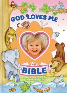 """The God Loves Me Bible, written by Susan Elizabeth Beck and illustrated by Lisa Mallett, is filled with simple, action-filled stories about the lives of more than fifty Bible characters. Each story emphasizes the steadfast theme of the Bible---that God loves his world, his people, and """"me!"""""""
