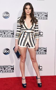 Hailee Steinfeld from 2015 American Music Awards: Red Carpet Arrivals  Talk about fierce and fabulous. The brunette beauty makes it all look too easy ahead of one music's biggest evenings. Her jumpsuit is fromZuhair Murad.