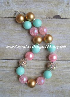 READY TO SHIP Pink Mint and Gold Bubblegum by LauraLeeDesigns108