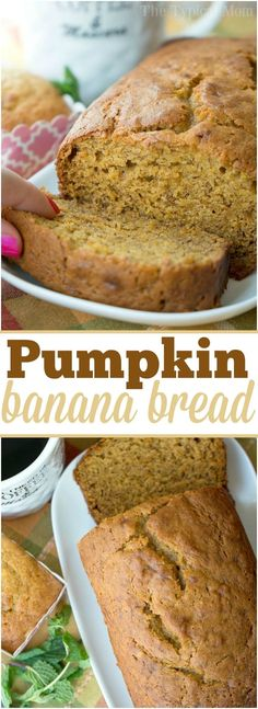 The most delicious pumpkin banana bread recipe is here! Perfect breakfast, brunch or dessert paired with a cup of coffee this holiday season or year round. #folgers AD #banana #pumpkin #bread #recipe #overripe #bananas #recipes #moist via @thetypicalmom